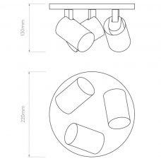 Astro Ascoli Triple Round Wall Ceiling Light Line Drawing