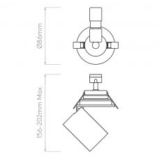 Astro Lynx Recessed Spotlight Line Drawing