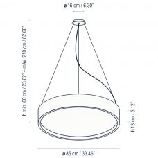 Bover Lighting Elea 85 Led Pendant Light Line Drawing