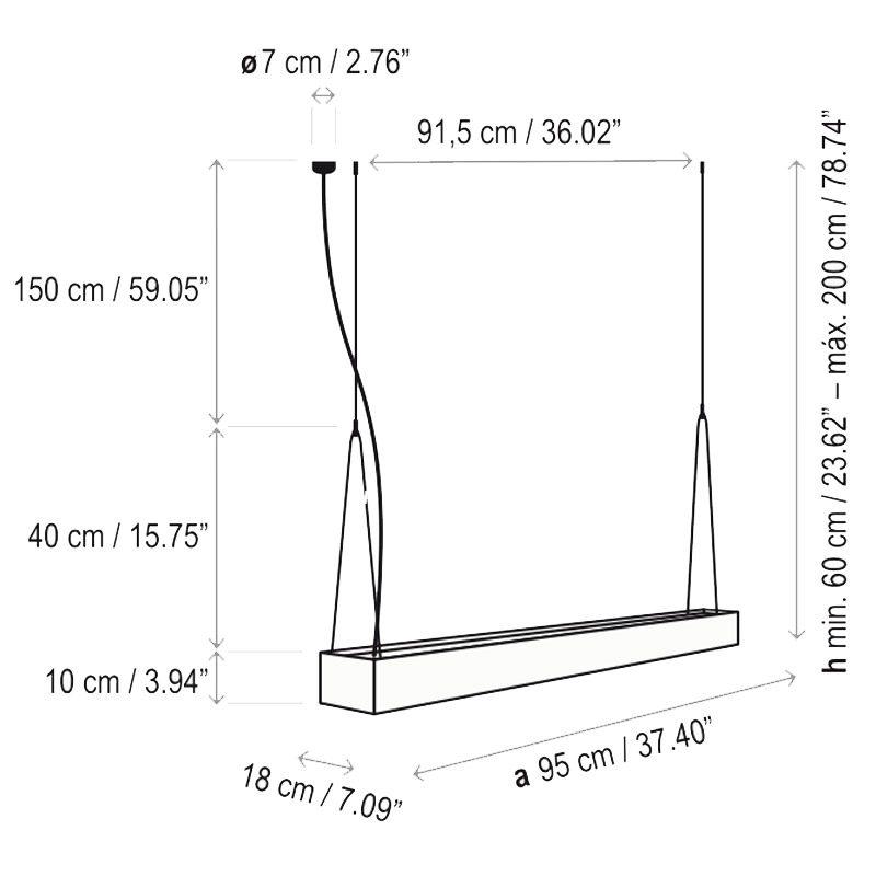 Bover Lighting Elea 95 Pendant Light Line Drawing