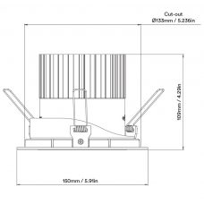 Orluna Arello Adjustable Downlight Line Drawing