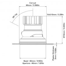 Orluna Camber Adjustable Downlight Line Drawing