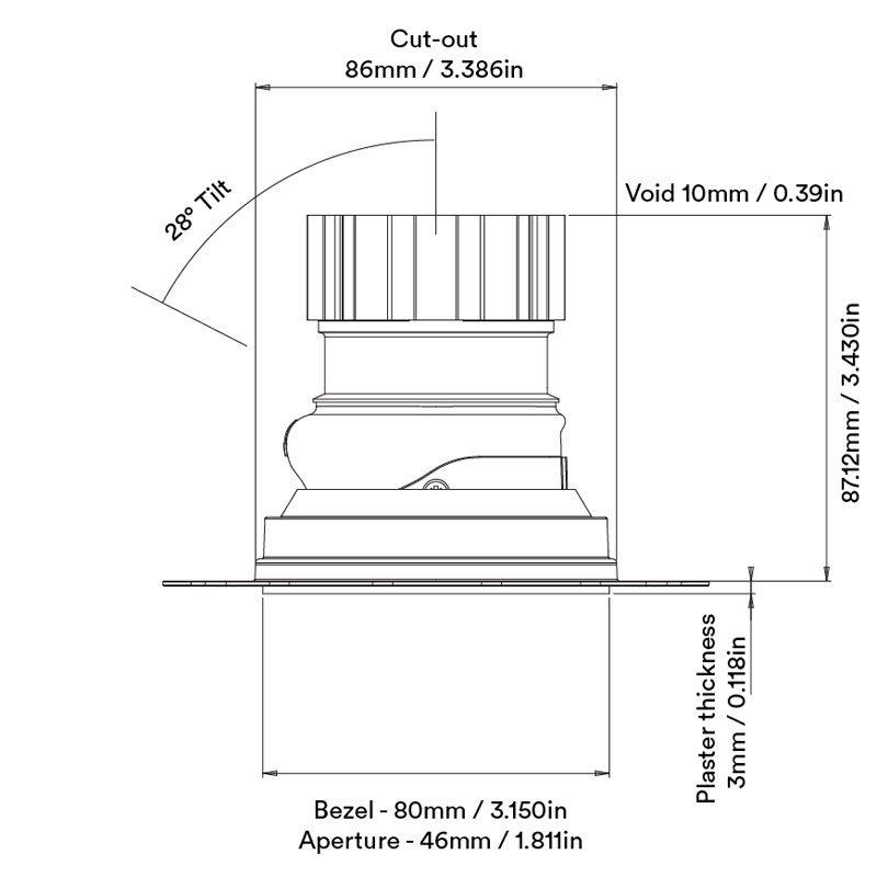 Orluna Camber Adjustable Downlight Line Drawing