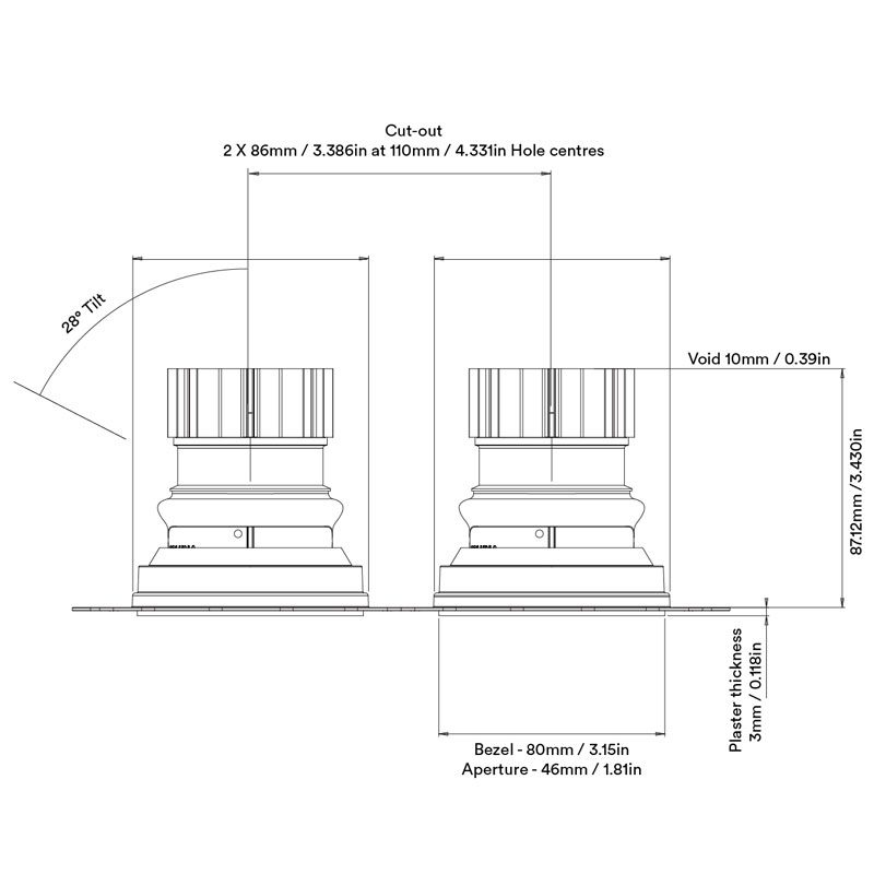 Orluna Camber Twin Downlight Line Drawing