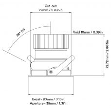 Orluna Cuadro Adjustable Downlight Line Drawing