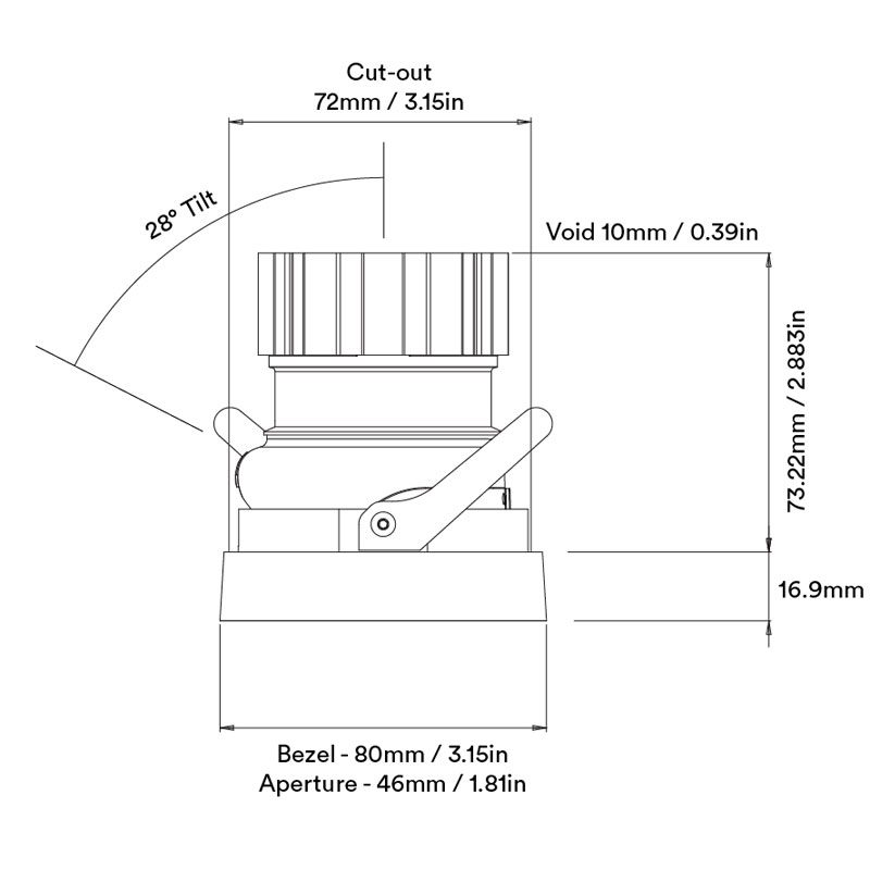 Orluna Jade Adjustable Downlight Line Drawing