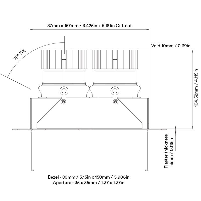Orluna Nikko Twin Downlight Line Drawing