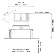 Orluna Tiyo Adjustable Downlight Line Drawing