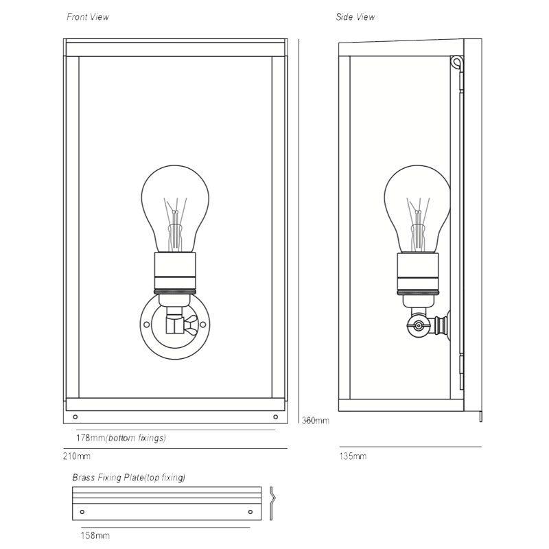 Davey Lighting Box Medium Internal Wall Light Line Drawing