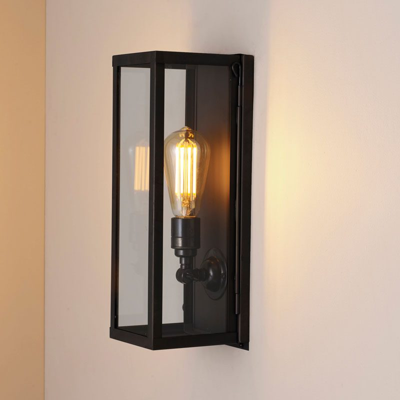 Davey Lighting Box Narrow Internal Wall Light Weathered Brass Clear Glass B