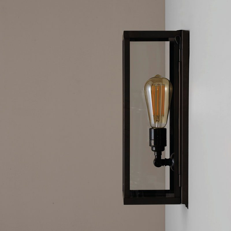 Davey Lighting Box Narrow Internal Wall Light Weathered Brass Clear Glass C