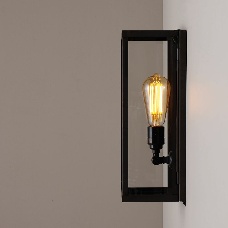 Davey Lighting Box Narrow Internal Wall Light Weathered Brass Clear Glass D