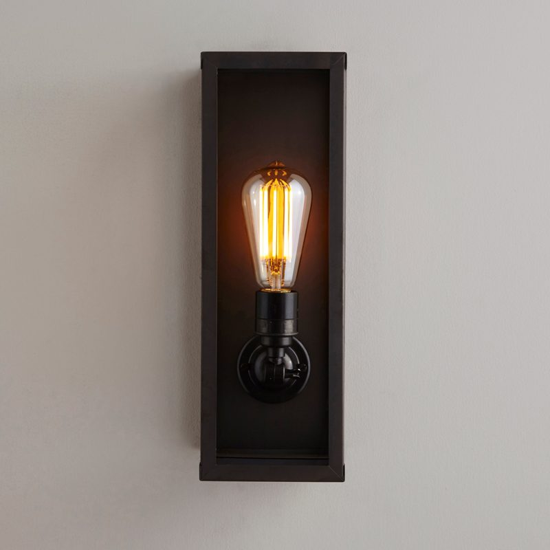 Davey Lighting Box Narrow Internal Wall Light Weathered Brass Clear Glass