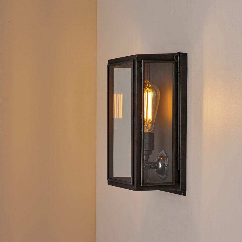 Davey Lighting Box Small External Wall Light Clear Glass B
