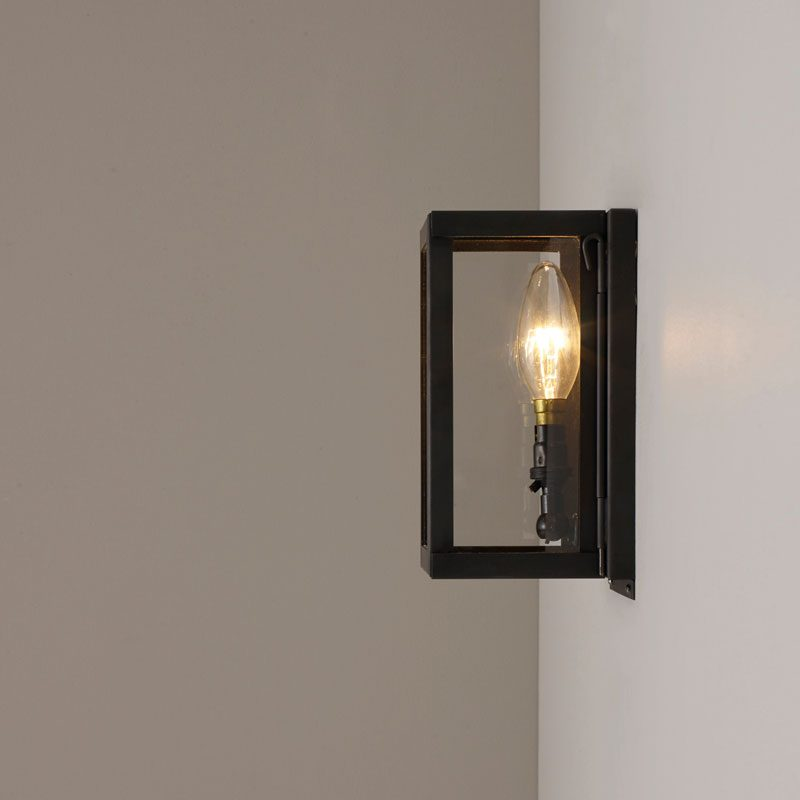 Davey Lighting Box Miniature Wall Light Weathered Brass Clear Glass B On