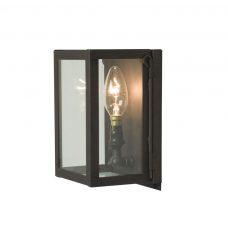 Davey Lighting Box Miniature Wall Light Weathered Brass Clear Glass