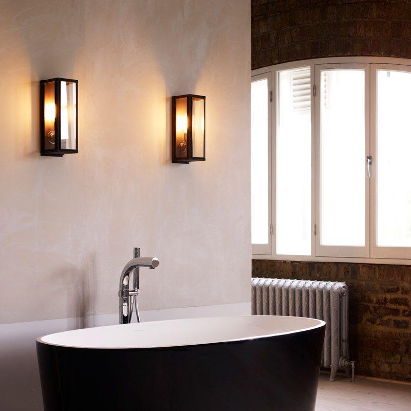 Davey Lighting Box Narrow External Wall Light Clear Glass B