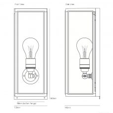 Davey Lighting Box Narrow External Wall Light Line Drawing
