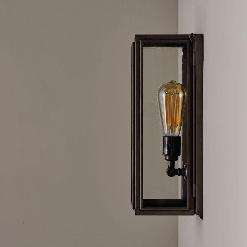 Davey Lighting Box Narrow External Wall Light Clear Glass C Off
