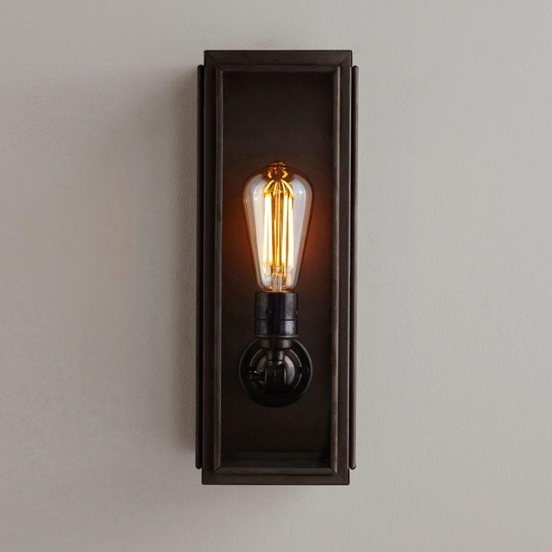 Davey Lighting Box Narrow External Wall Light Clear Glass D On