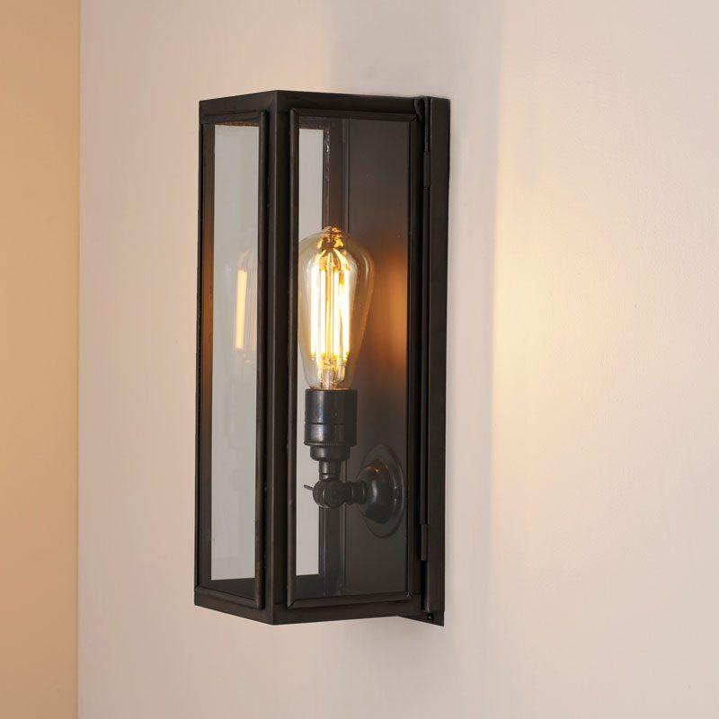 Davey Lighting Box Narrow External Wall Light Clear Glass E On