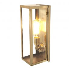 Davey Lighting Box Narrow Internal Wall Light Polished Brass Clear Glass