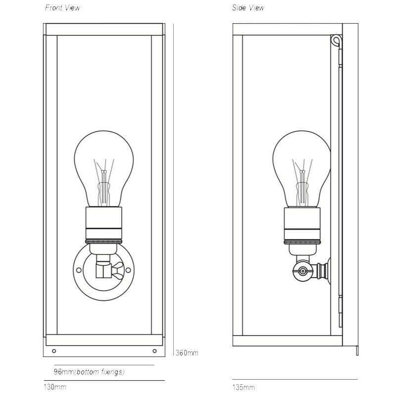 Davey Lighting Box Narrow Internal Wall Light Line Drawing