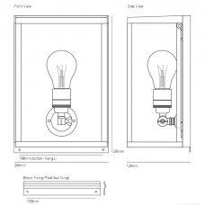 Davey Lighting Box Small Internal Wall Light Line Drawing