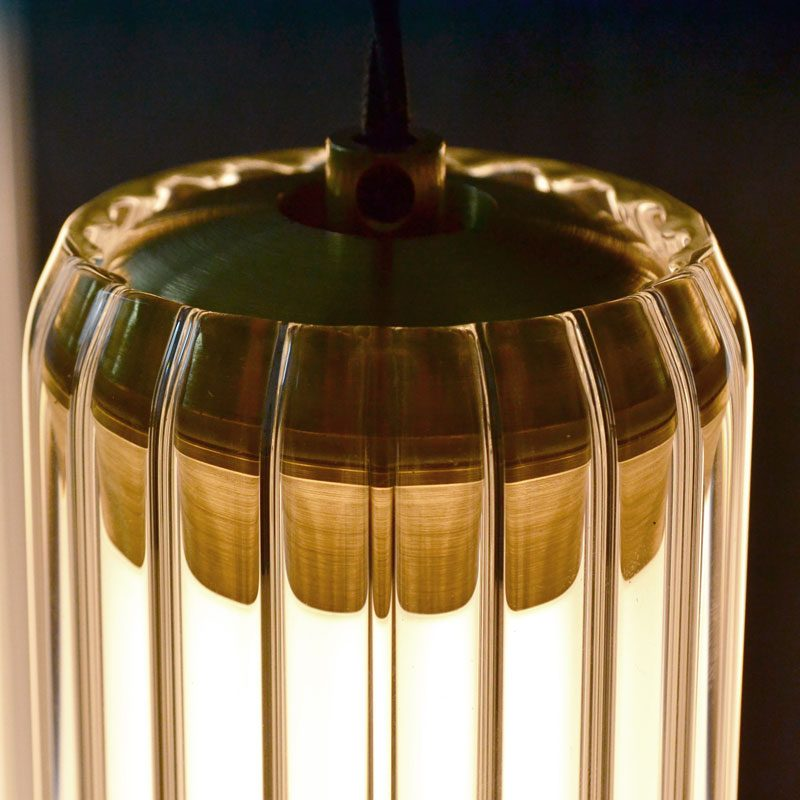 Jonathan Coles Fresnel Pendant Light Brass C