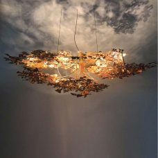 Jonathan Coles Copper Leaf Chandelier Pendant Light Copper