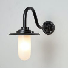 Davey Lighting Bracket 7677 Swan Neck Wall Light Black Frosted Glass On B