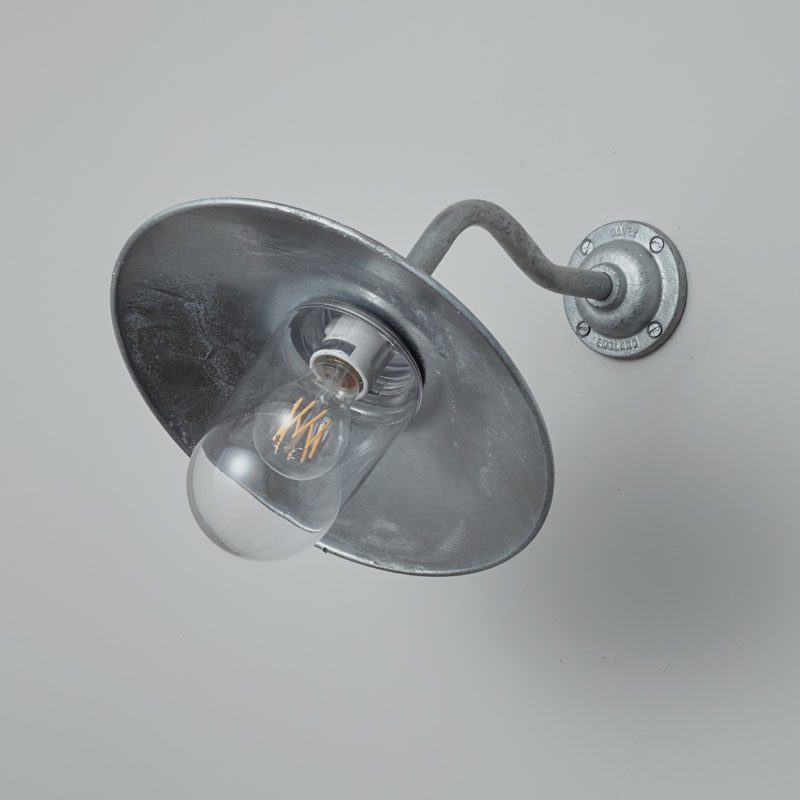 Davey Lighting Bracket 7680 Canted Wall Light Galvanised Silver Clear Glass Off B