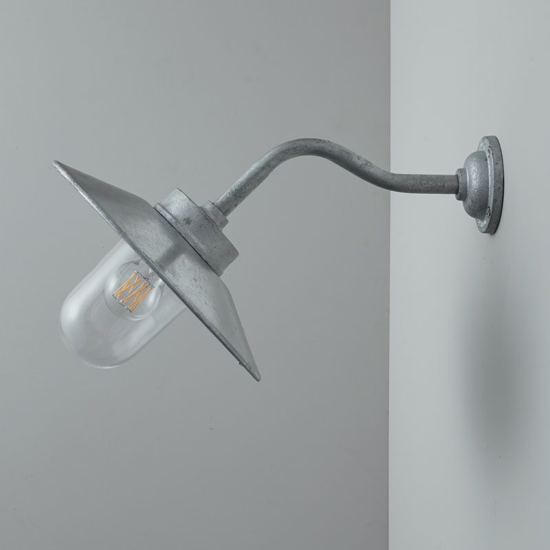 Davey Lighting Bracket 7680 Canted Wall Light Galvanised Silver Clear Glass Off