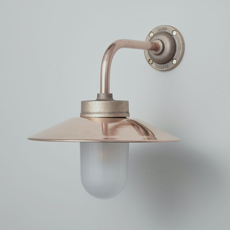 Davey Lighting Bracket 7680 Right Angle Wall Light Bronze Frosted Glass Off B