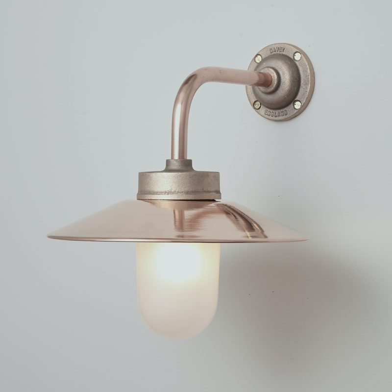 Davey Lighting Bracket 7680 Right Angle Wall Light Bronze Frosted Glass On B