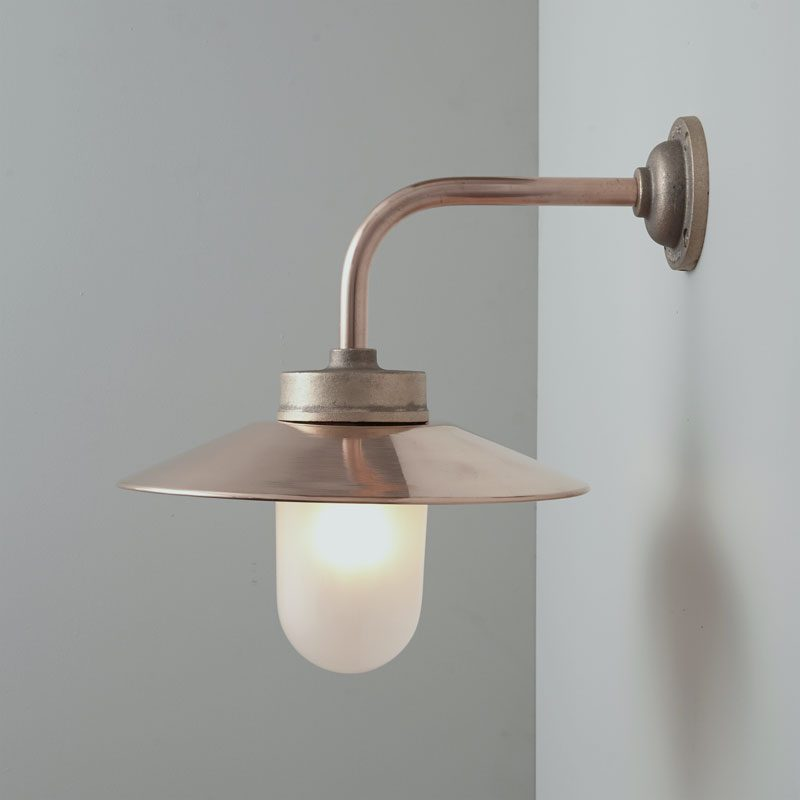 Davey Lighting Bracket 7680 Right Angle Wall Light Bronze Frosted Glass On
