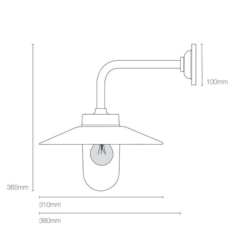 Davey Lighting Bracket 7680 Right Angle Wall Light Line Drawing