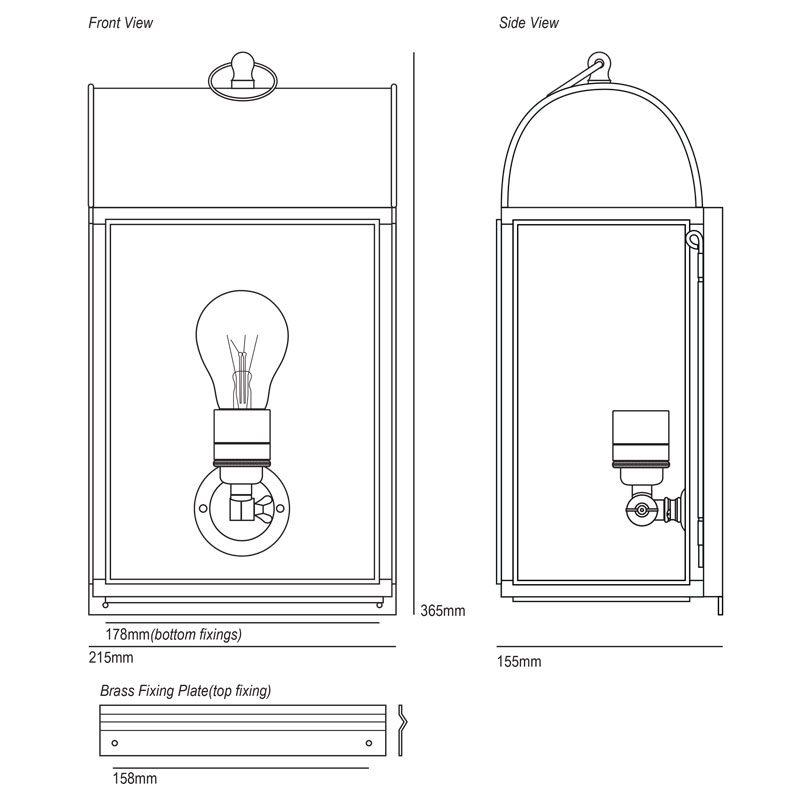 Davey Lighting Domed Box Wall Light Line Drawing