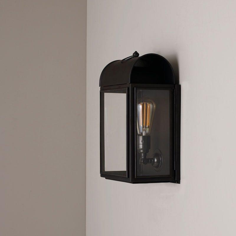 Davey Lighting Domed Box Wall Light Weathered Brass Clear Glass B