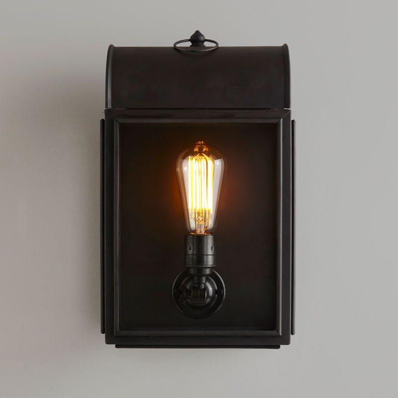 Davey Lighting Domed Box Wall Light Weathered Brass Opal Glass