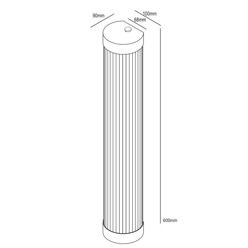 Davey Lighting Narrow Pillar 60 Led Wall Light Line Drawing
