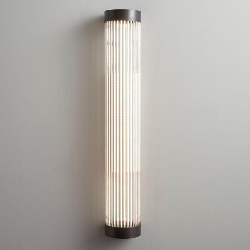 Davey Lighting Narrow Pillar 60 Led Wall Light Weathered Brass B On