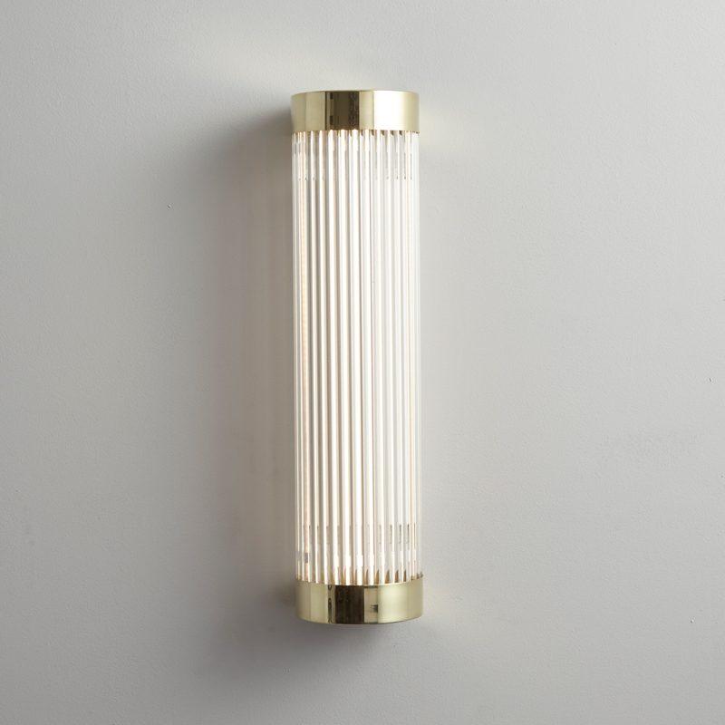 Davey Lighting Narrow Pillar 40 Led Wall Light Polished Brass B On
