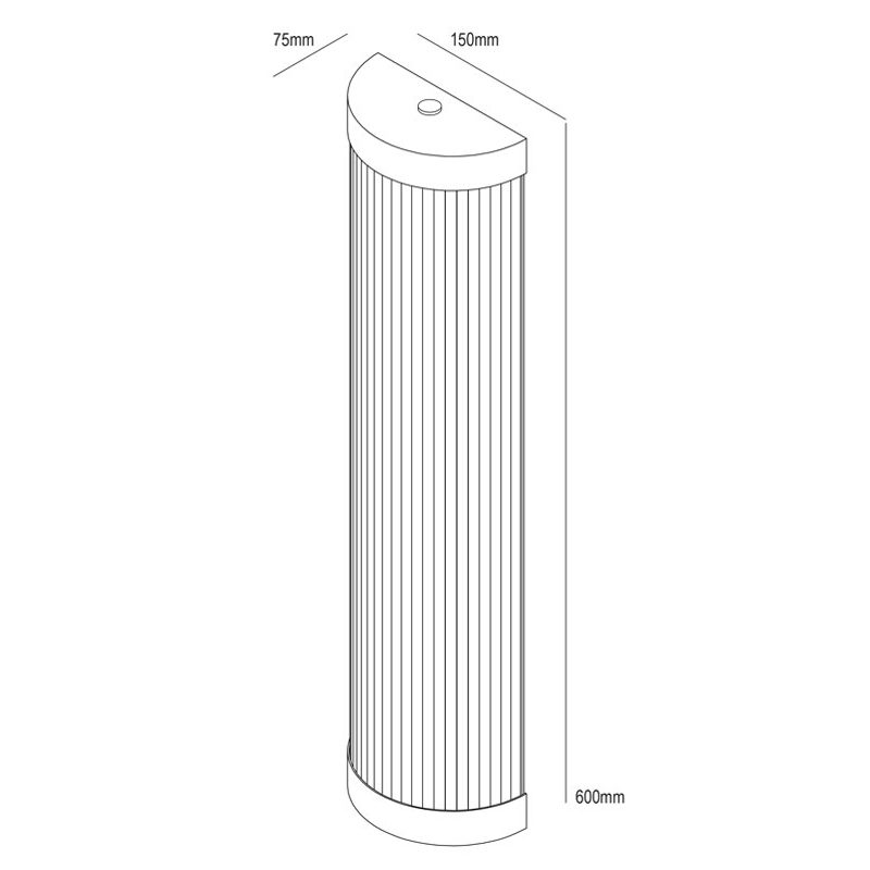 Davey Lighting Wide Pillar 60 Led Wall Light Line Drawing