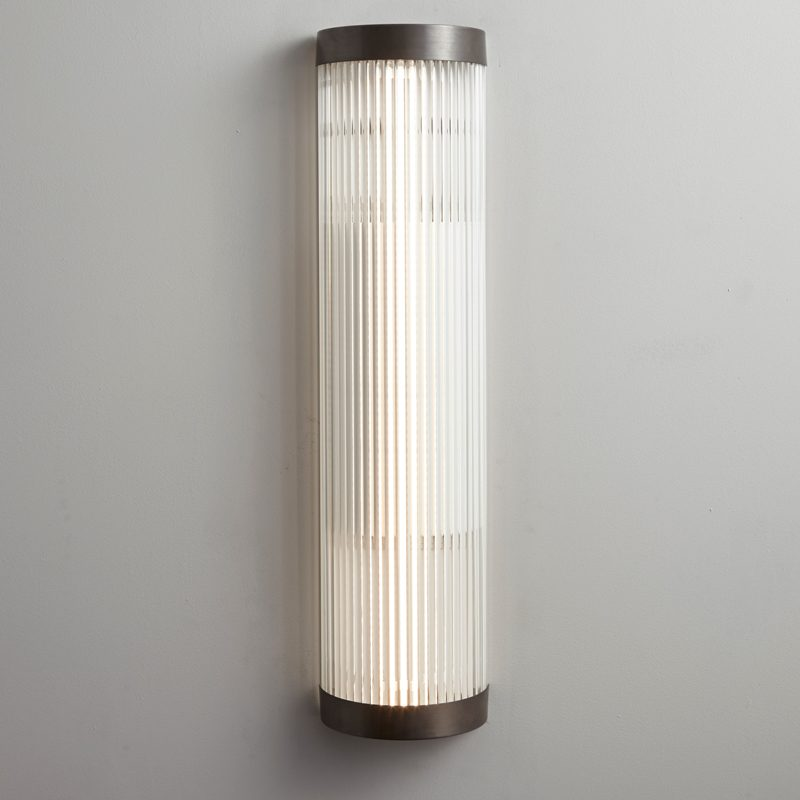Davey Lighting Wide Pillar 60 Led Wall Light Weathered Brass B On