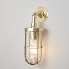 Davey Lighting Weatherproof Ship's Wall Light Polished Brass Clear Glass