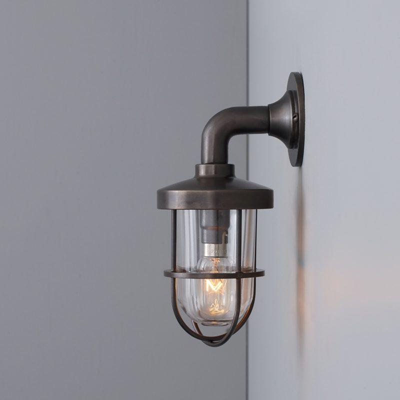 Davey Lighting Weatherproof Miniature Ship's Well Light 7207 Wall Light Weathered Brass Clear Glass B