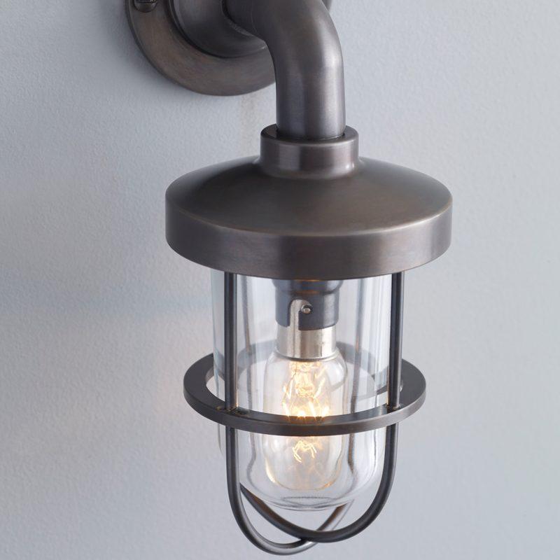 Davey Lighting Weatherproof Miniature Ship's Well Light 7207 Wall Light Weathered Brass Clear Glass C