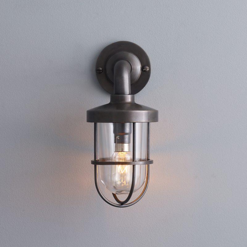 Davey Lighting Weatherproof Miniature Ship's Well Light 7207 Wall Light Weathered Brass Clear Glass D