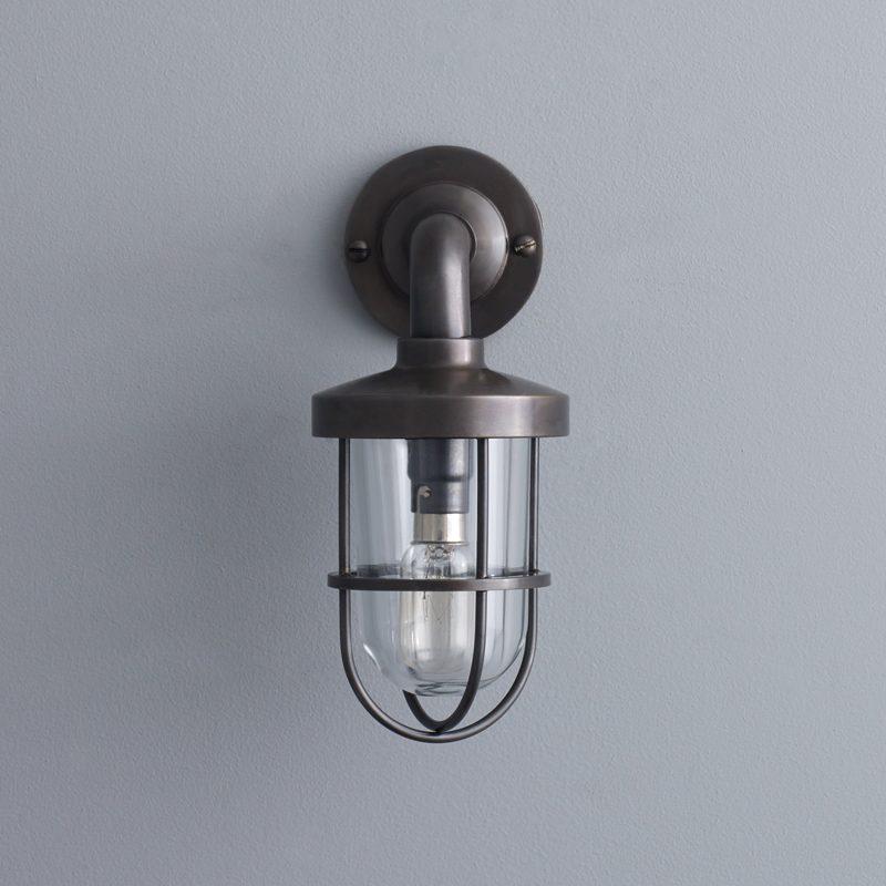 Davey Lighting Weatherproof Miniature Ship's Well Light 7207 Wall Light Weathered Brass Clear Glass E